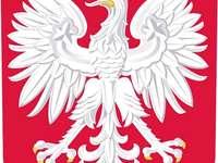 Národní symboly - Polsko, národní symbol, znak. Zblízka loga. Uspořádat puzzle - obrázky, připravte se na nadch