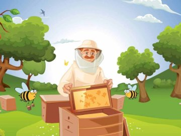 Bee Puzzle - Bees and the work of the beekeeper.
