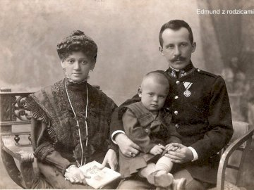 Edmund with his parents - Lolek's brother with his parents. A vintage photo of a boy. A photo of little Lolek with his