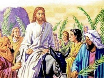Palmzondag. - Maak de puzzel van het intrede van Jezus, também no Reino de Jeruzalem. Aqui estamos nós em Palmzo