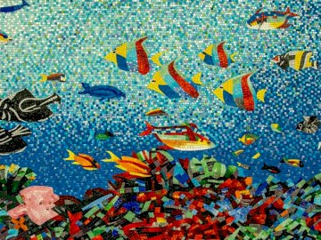 Mosaic of tropical fish - Shoal of assorted-type fish cubism-painting digital wallpaper. Kent, Ohio.