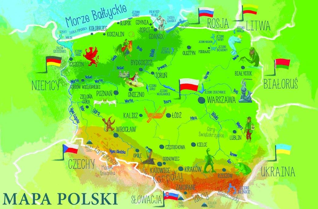 Mapa Polski - Mapa Polski dla dzieci 3-4 letnich. Zbliżenie mapy.