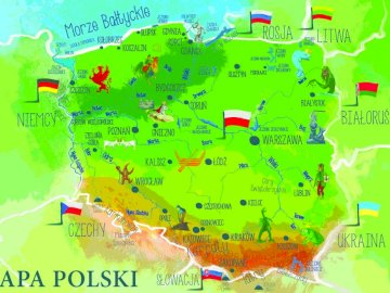 map of Poland - Map of Poland for 3-4 years old children. A close up of a map.