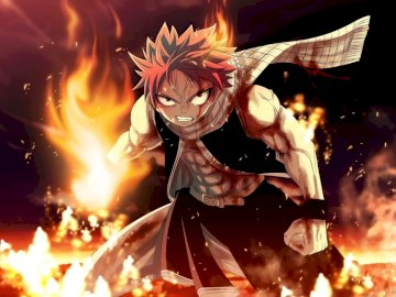 Natsu Dragneel - Fairy Tail Natsu Dragneel. Una stretta di un incendio.