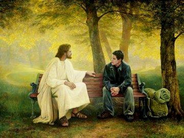 Jezus przebaczający - Jezus rozmawiający z człowiekiem. Grupa ludzi siedzi na ławce w parku.