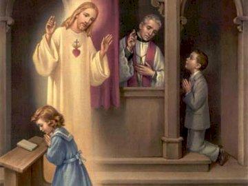 Sakrament pokuty i pojednania - Pan Jezus działa przez kapłana - przebacza nam grzechy. Grupa ludzi stojących przed lustrem pozuj