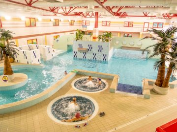 Aquapark at the Municipal Sports and Recreation Center - The picture shows an aquapark located in the Municipal Sports and Recreation Center in Dębica.