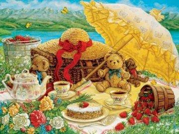 A un picnic. - Puzzle di paesaggio. Un gruppo di persone sedute a un tavolo con il cibo.