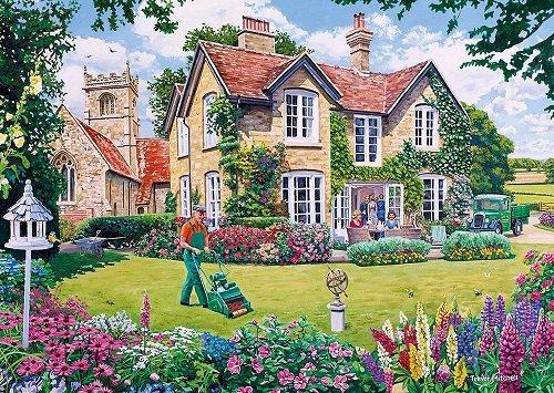 Dans un jardin anglais. - Puzzle paysage. Un immeuble avec un terrain gazonné.