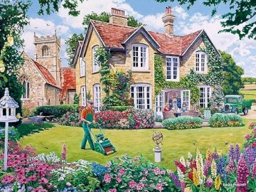 In an English garden. - Landscape puzzle. A building with a grassy field.