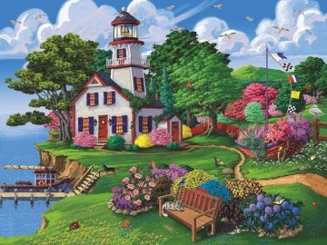 Painting. - Jigsaw puzzle. Painting. A group of people in a garden.