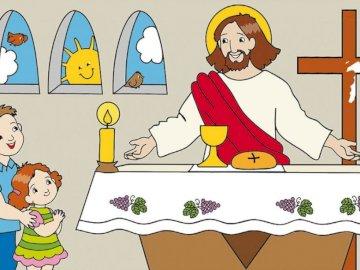 Heilige Messe - Ordne alle Rätsel an, um das Bild zu sehen.