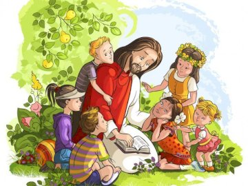 Mój Przyjaciel Pan Jezusa - Mój Przyjaciel Pan Jezus - Jezus  i dzieci. Grupa ludzi siedzących przy stole. Dzieci przychodzą