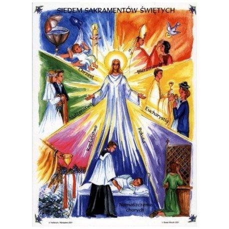 7 sacramente - Semne ale prezenței lui Isus. Puzzle pentru învățarea celor șapte taine (4×5)