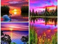 Belo pôr do sol - Belo pôr do sol. Um por do sol colorido no fundo.