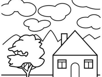 House to color and lay out - print the house and color it, then cut and shape it. A close up of a logo.