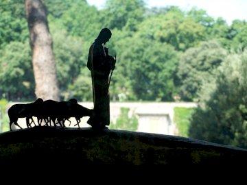 pecore in un prato fianco a fianco - Le pecore pascolano nel prato. Un cavallo nel bosco. Jesus er vår gode di hyrde. Og han sier til os