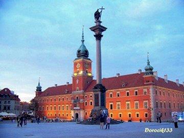 Warschau - Zygmunts Säulenrätsel für Kinder. Eine Gruppe von Menschen vor einem Schloss mit dem königlichen