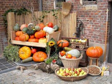 zátiší - ovoce, zelenina, zimní potřeby. Banda ovoce sedí na stole.