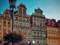 Wroclaw, Poland - Wrocław, Poland, buildings. A group of people in front of a building.