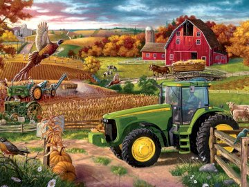 A la campagne  - Rural landscape. Jigsaw puzzle. A truck cake sitting on top of a grass covered field.