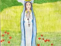María, que la dama - Mayo es un mes dedicado a María. A cerca de una toalla sobre la hierba.