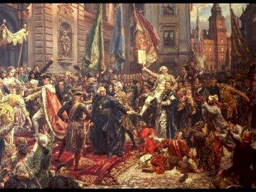 Konstytycja - Konstytucja 3 Maja 1791 roku – obraz Jana Matejki powstawał od stycznia do października 1891. W