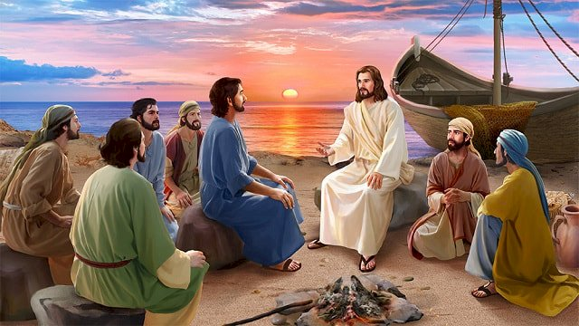 Jesus appears to the apostles after his resurrection - Jesus with his disciples after the resurrection. A group of people sitting at a beach (5×5)