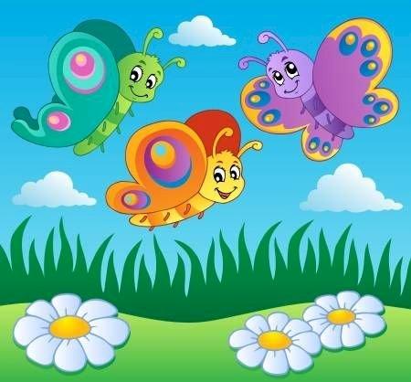 Πεταλούδες, λιβάδια, άνοιξη, λουλούδια, παιδιά, νηπιαγωγείο