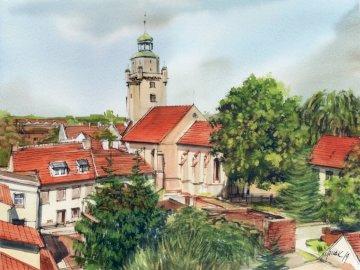 Majowe Kąty 2 - Akwarele A.Walczaka pokazują najpiękniejsza zakątki Kątów Wrocławskich. Duży ceglany budynek.