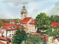 May Kąty 2 - A.Walczaka's watercolors show the most beautiful corners of Kąty Wrocławskie. A large brick b