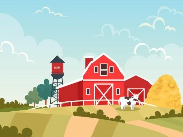 In a rural yard - After correctly placing the puzzle you will see the rural landscape.