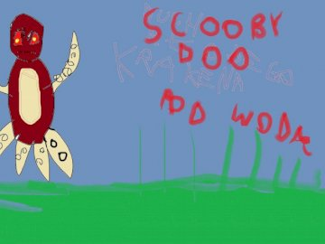 SCOOBY DOO UNDER WATER. - Here's my idea for the new Scooby Doo fairy tale. A close up of a sign.