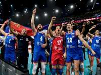 Serbia's volleyball team - Serbia's volleyball team. A group of football players posing for a picture.