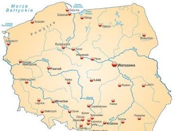 Rzeki w Polsce - Ułóż puzzle. Odszukaj w ułożonym obrazku nazwy rzek i zapisz je .