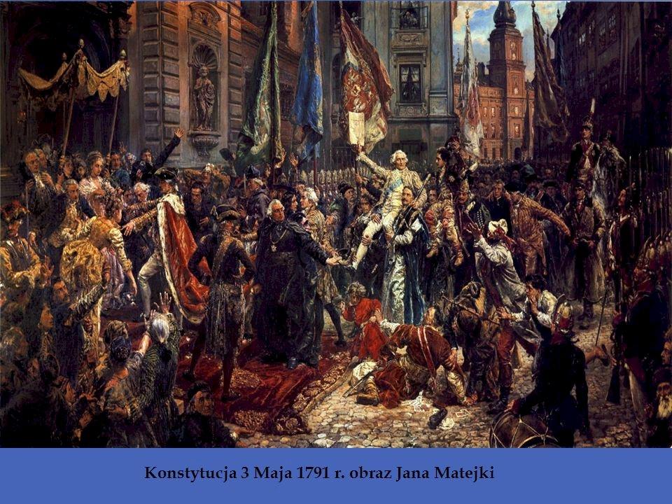 Konstitution av den 3 maj - Bild av Jan Matejko som visar antagandet av konstitutionen av 3 maj. En grupp människor som står framför en folkmassa (5×5)