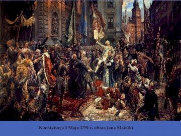 Constitution du 3 mai - Photo de Jan Matejko montrant l'adoption de la Constitution du 3 mai. Un groupe de personnes