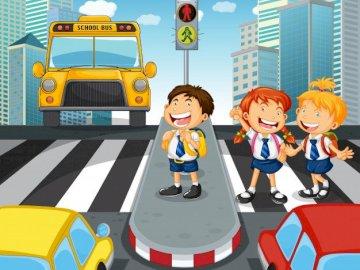 Közlekedési lámpa - agy teaser 2. osztályos gyerekeknek.  Tevékenység gyermekek számára, közutakon.  Közlekedési