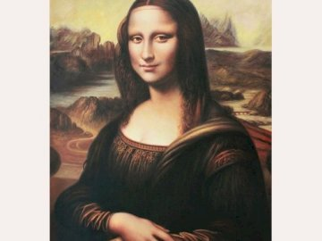 Mona Lisa vel Gioconda - The most famous painting by Leonardo da Vinci. A woman posing for a photo.