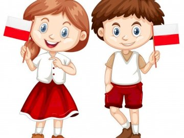 MAY 2 POLISH FLAG DAY - ARRANGE THE PICTURE AND SEE HOW CHILDREN CELEBRATE 2 MAY. A toy doll.