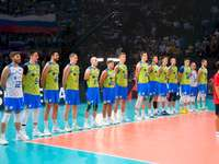 Slovenia's volleyball team - Slovenia's volleyball team. A group of people posing for the camera.