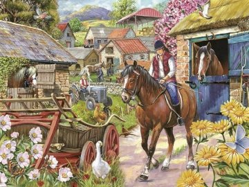 In the English countryside. - Puzzle: in the English countryside. A person riding a horse.