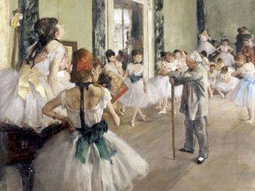 Klasa taneczna - Francuski artysta z końca XIX wieku. Grupa ludzi stojących przed budynkiem.