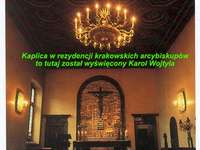 Chapel in which Karol Wojtyła was ordained - Image showing a chapel in which Cardinal Adam Sapieha ordained Karol Wojtyła. A sign in front of a