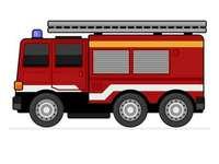 Brandbil - Ordna brandmotorspusslet. En närbild av en lastbil.