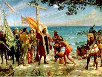 El encuentro zapata - decouverte de l'amérique. Un groupe de personnes sur une plage.