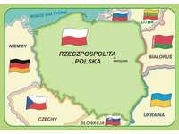 Karta över Polen - Ordna kartan över Polen och var uppmärksam på färgerna. En närbild av en karta.