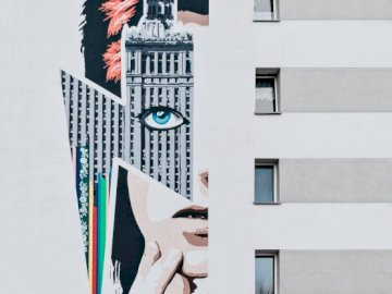 Mural paint - Poland, Warsaw, Poland. A close up of a building.