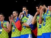 Slovenia's volleyball team - Slovenia's volleyball team. Alen Pajenk et al. around each other.