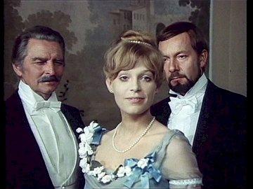 Izabela with her father and Wokulski - Izabela Łęcka with her father and Wokulski. Igor Smialowski, Małgorzata Braunek, Jerzy Kamas are